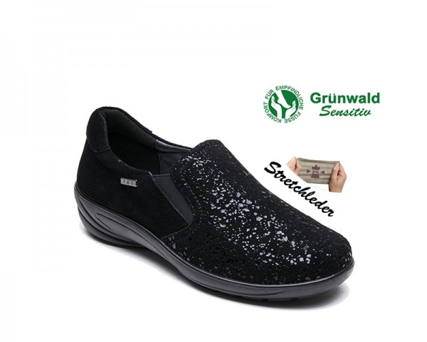 P-9519 STRETCH SCHWARZ DAMEN SLIPPER