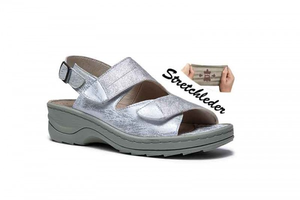 2916 WEISS SILVER STRETCH DAMEN SANDALET