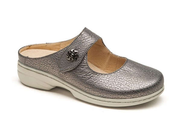 2816 GRAU SILVER SOFTNAPPA DAMEN CLOGS